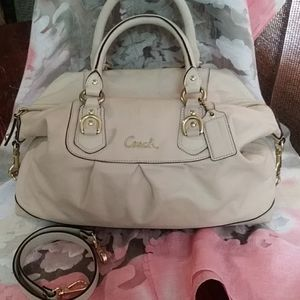 Coach Ashley leather winter white bag